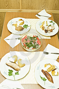 Meal For Four Royalty Free Stock Image - Image: 5452246