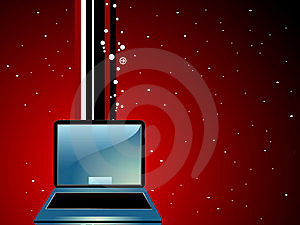 Laptop On Stripes Stock Photography - Image: 5452302