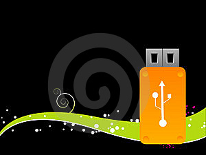 Pendrive With Swirl Royalty Free Stock Images - Image: 5452309
