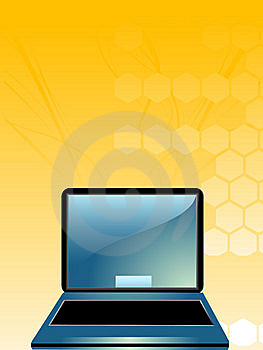 Laptop On Hexagons Stock Photos - Image: 5452323