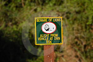 Beware Of Lions Royalty Free Stock Photos - Image: 5452908