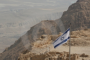Israeli Flag On A Desert Mountain(Masada) Royalty Free Stock Photography - Image: 5453347