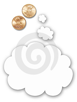 Two US Pennies With Thought Balloon Royalty Free Stock Image - Image: 5455216