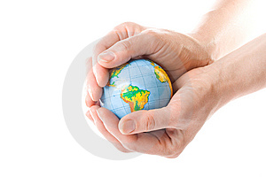 The globe in hands Free Stock Images