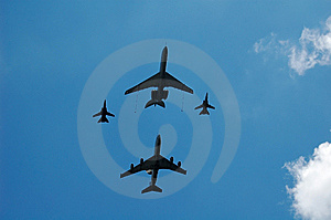 Big Planes And Fighters Royalty Free Stock Photo - Image: 5464035