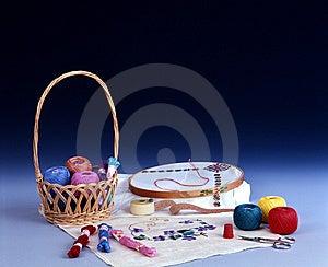 Basket With Yarn, Embroidery, Needle, Thimble Royalty Free Stock Photo - Image: 5468175