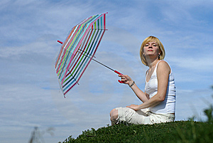 Young Charming Girl With Umbrella Stock Photography - Image: 5468712