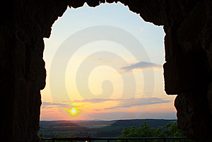 Sunset At Kalsmut Ruin Stock Image - Image: 5472711