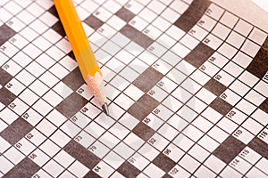 Crossword Puzzle With Pencil Royalty Free Stock Images - Image: 5478829