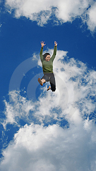 Woman Jumping High In The Sky Royalty Free Stock Photography - Image: 5486257