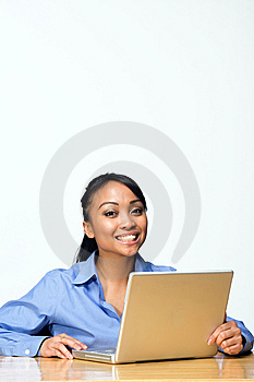 Student at Laptop. - Vertical Royalty Free Stock Images