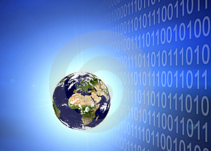 Earth Planet In Binary Code Stock Images - Image: 5497294