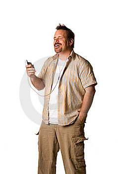 Man Listening To Music With Expression Stock Image - Image: 5499361