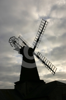 Windmill Silhouette Royalty Free Stock Image - Image: 556956