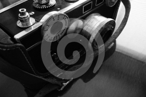 Vintage camera, black and white Stock Photos