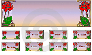 Web Set Red Roses Royalty Free Stock Image - Image: 5506036