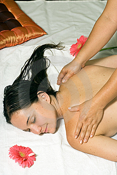 Woman gets a Massage - Vertical Royalty Free Stock Photos