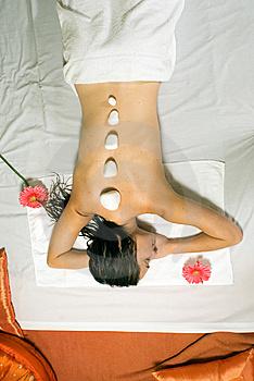 Woman gets a Massage - Vertical Stock Image