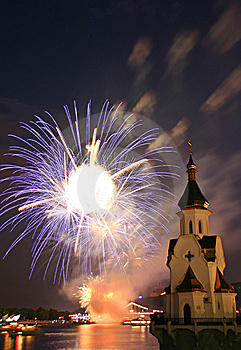 Firework And Church On River Stock Image - Image: 5512501