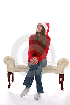 Pretty Girl Wearing A Santa Hat Royalty Free Stock Image - Image: 5513016