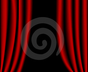 Open red curtains Stock Images