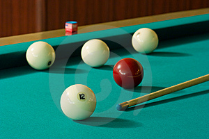 Five Balls And Cue Royalty Free Stock Photography - Image: 5531617
