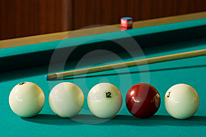 Billiard-balls And Cue Royalty Free Stock Image - Image: 5531666
