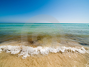Empty Beach And Waves Royalty Free Stock Image - Image: 5542826