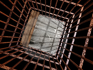 Image 3d Of Metal  Jail Royalty Free Stock Photos - Image: 5543378