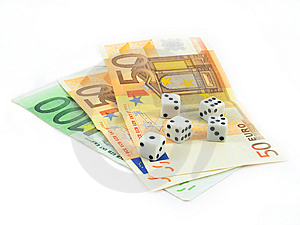 Euro Money And Gambling Cubes Stock Photo - Image: 5551080