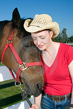 Woman In Cowboy Hat With Horse - Vertical Stock Images - Image: 5560224