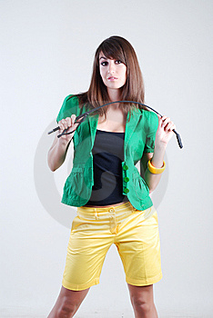 Girl With Whip Royalty Free Stock Photography - Image: 5567757