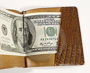 Dollars In A Leather Billfold Royalty Free Stock Photos - Image: 5574758