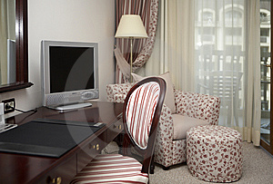 Hotel room with furniture