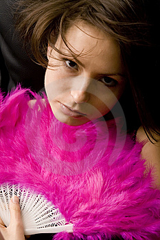 Pretty Girl With A Fan Royalty Free Stock Photos - Image: 5582968