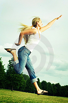 Jumping Woman. Royalty Free Stock Photos - Image: 5584168