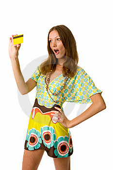 Astonished Woman With Credit Card Isolated Stock Images - Image: 5592884