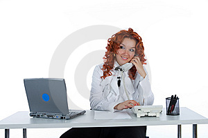 Beautiful Young Businesswoman Calling Stock Photography - Image: 5598852