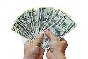 Money in hand Stock Image