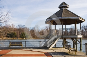Lakeside Gazebo Stock Photo - Image: 567630
