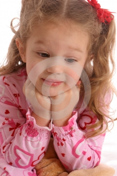 Pink Girl Look Down Royalty Free Stock Photos - Image: 567728