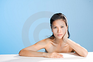 Fresh clean face of Young woman Stock Photo