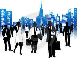Business people and city
