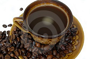 Cup Of Coffee With Coffee Beans Royalty Free Stock Photos - Image: 5616118