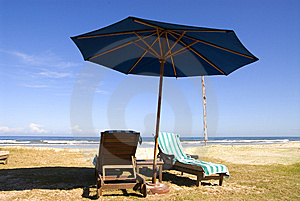 Beach Chairs of beach resort Royalty Free Stock Photo