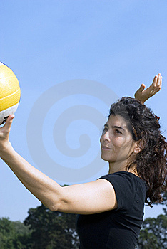 Woman In Park Spiking Volleyball - Vertical Stock Photos - Image: 5625303