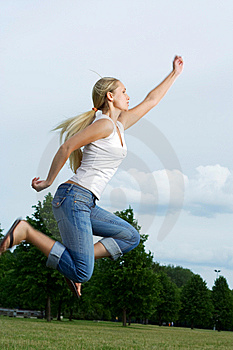 Jumping Woman. Royalty Free Stock Photography - Image: 5628647