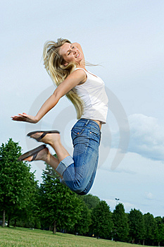 Happy Jumping Woman. Royalty Free Stock Photography - Image: 5628657
