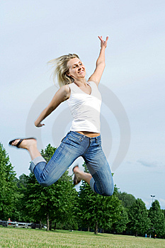 Happy Jumping Woman. Stock Images - Image: 5628674