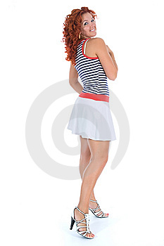 Beautiful Woman With Stripped Vest Royalty Free Stock Photo - Image: 5632915
